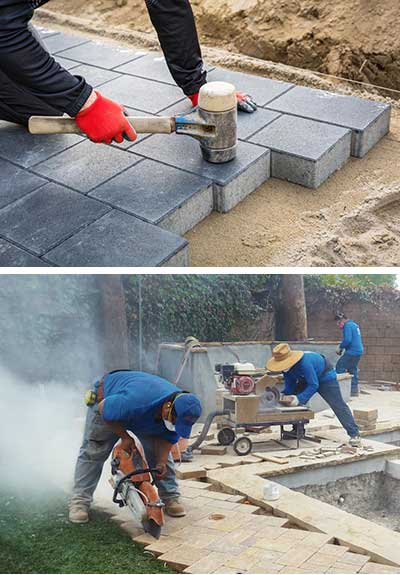 Installing Pavers in Olympia, Washington with mallet